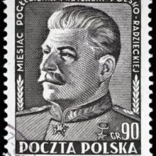Stalin on postal stamp